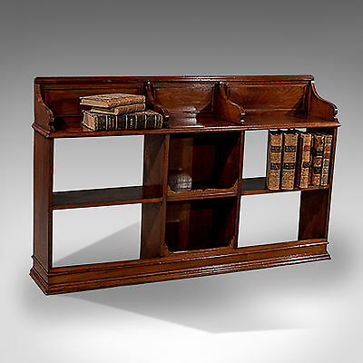 "Antique Walnut Bookcase Display Shelves 30"" x 49"" English Edwardian c1910"