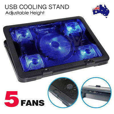 "USB Adjustable Laptop Notebook Cooling Pad Stand10""-15.6"" 5 Fans LED"
