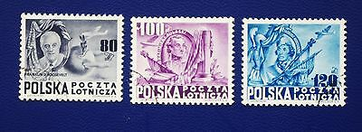 POLAND - 1948 Set of 3 AIR MAILS FIGHTERS FOR DEMOCRACY Rarer used examples