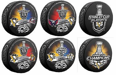 2017 Stanley Cup Final Six (6) Puck Set Pittsburgh Penguins Playoffs & Champs