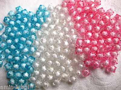 50 Beads square 6mm in turquoise,pink and white