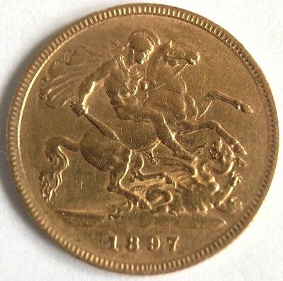 1897 22ct Victorian Solid Gold Half Sovereign Coin - London Mint