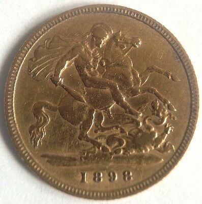 1898 22ct Victorian Solid Gold Half Sovereign Coin - London Mint