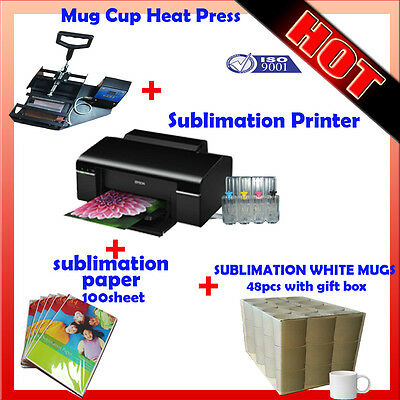 Mug Cup Heat Press Machine + Sublimation Printer + paper + White Mugs(48 pcs)