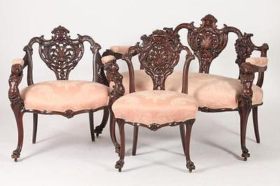 AMERICAN ART NOUVEAU THREE PIECE PARLOR SUITE: A SETTEE & TWO CHAIRS,... Lot 421