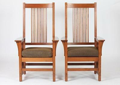 PAIR OF STICKLEY SPINDLE ARM CHAIRS WITH CUSHIONS. Late 20th Century.... Lot 499