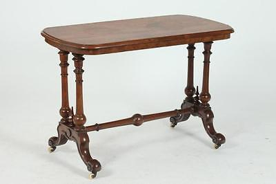 LATE 19TH CENTURY AMERICAN BURLED WALNUT SOFA TABLE WITH TRESTLE BASE... Lot 417