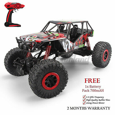 2.4GHz RC Car 1/10 Remote Control 4WD Off Road Large Rock Crawler RED 2xBattery