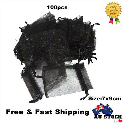 100pcs Black Jewellery Organza Pouch Bag Multi Color Small Gift Sweet Wedding