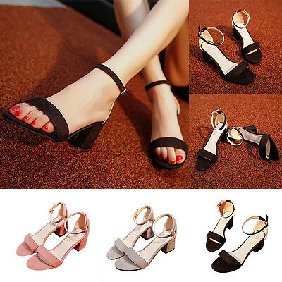 Womens Block Heels Ankle Strap Sandals Ladies Peep Toe Strappy Party Shoes Size