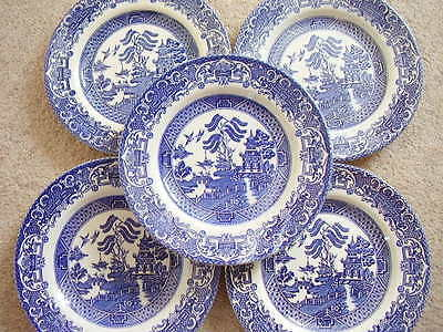 Staffordshire,Willow, England porcelain plate,set of 5 pieces