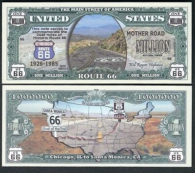 new Historic Route 66 Million Dollar Bill Funny Money Collectible Novelty Note