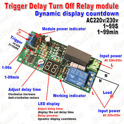 AC240V Digital LED Counter Timer Delay Turn Time OFF  Timing Relay Switch Module