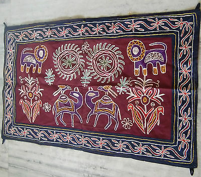 Indian Old Vintage Embroidered Wild Animals Wall Hanging Tapestry Home Decor
