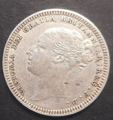Great Britain 1880  Victoria  Silver 6d Sixpence Better Detail