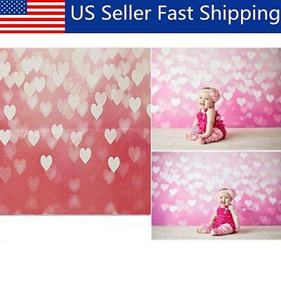 3x5ft Vinyl Photography Background Heart Baby Birthday Backdrops Studio Props