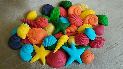 50 Edible Sugar Icing Sea Shells Beach Themed Cupcake Toppers Cake Decorations