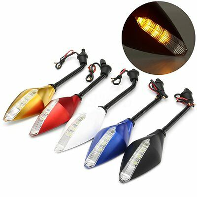 2x Motorcycle Rearview Side Wind Mirror LED Indicator Light Turn Signal 8mm 10mm