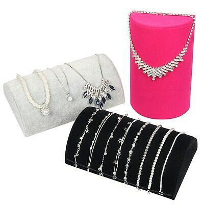 Jewelry Display Showcase Bracelet Necklace Tray Box Rack Velvet Pillow