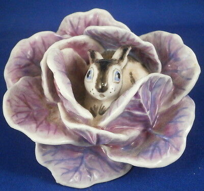 Cute Nymphenburg Porcelain Bunny in Cabbage Figure Figurine Porzellan Figur