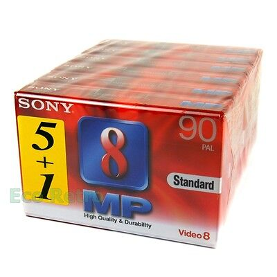Sony Video 8 High Quality 90 Minutes 8mm Camcorder Video Tapes Pack of 6