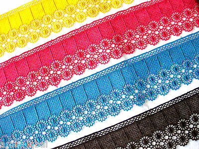 Beautiful Tip/Border, Etched lace,many Colours,8,5cm wide lfm, s12