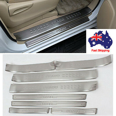 8x Stainless Scuff Plates Door Sill Protector For Toyota PRADO FJ150 2010-2015