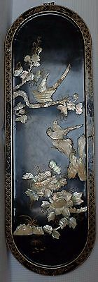 VINTAGE CHINESE LACQUER AND MOTHER OF PEARL Wall Plaque Picture
