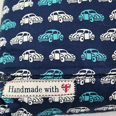Childrens Pillow Cushion Blue VW Beetle Cars Design Boys Kids Handmade Square