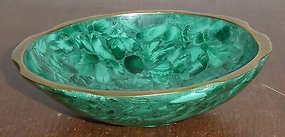 beautiful malachite bowl with brass edge, possibly African manufacture, 13.5 cm