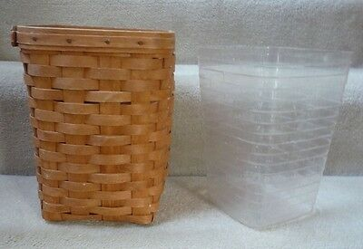 "Longaberger 1992 Mini Waste Basket with Damaged Protector (10"" by 7.5"" by 7.5"")"