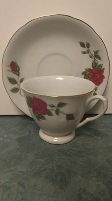 Floral Red Rose Teacup and Saucer Made in China