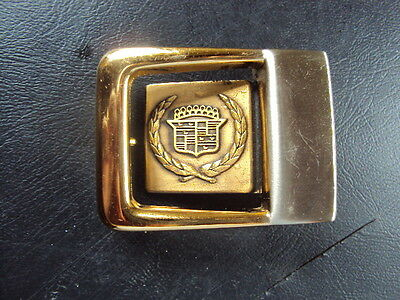 VINTAGE Brass Gold CADILLAC Car Automobile Crest Logo BELT BUCKLE Salesman