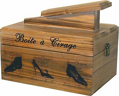 Wooden Shoe Shine Box French Design Traditional Wood Shabby Chic Vintage Style