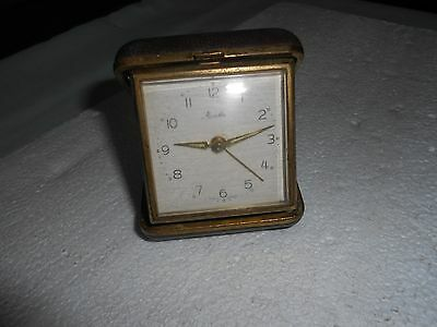 Vintage Mauthe Travel Alarm Clock Ticking Made In Germany Sold As Spares/repair.
