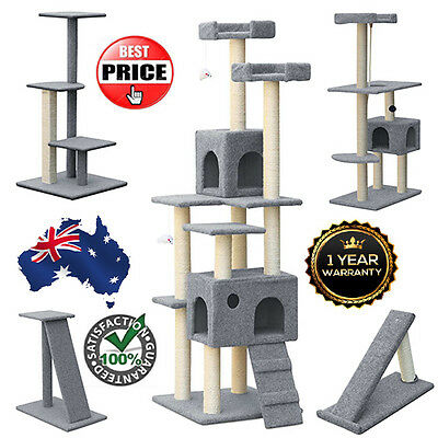Grey Cat Kitten Furniture Ramp Post Scratcher Tree Tower - Choose from Many