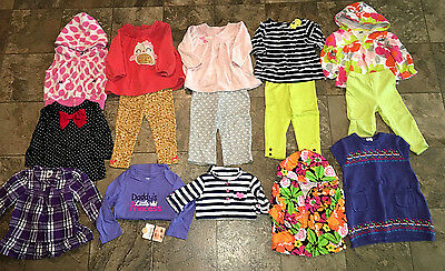Carters Girl 15 pc lot Dress Outfits Vest Size 12 Months 9-12 Fall winter Spring