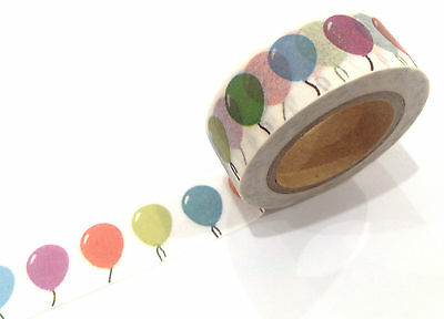 1PC Japanese Washi Tape Craft Sticker, Rainbow Birthday Balloons Party Celebrate