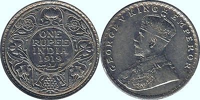 1919 India British 1 One Rupee Silver coin - King George V