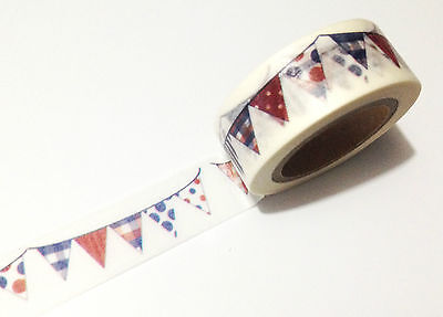 1PC Japanese Washi Tape Craft Sticker, Red White Blue Garland Bunting 10M