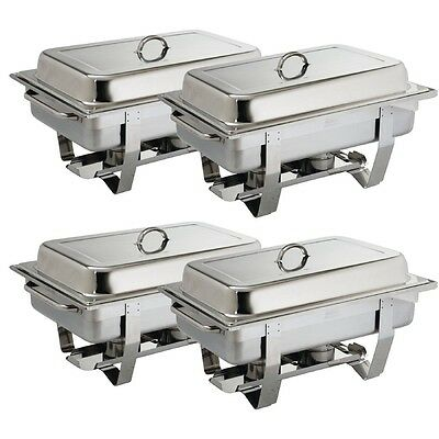 4 x Milan Chafing Dish Pack 9Ltr Commercial Catering Buffet Self-Service Food