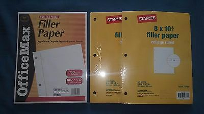 """3-Hole College Rule Filler Paper / 8"""" X 10 1/2"""" / 3 packs"""