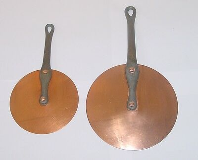 Set of 2 antique French copper/wrought iron LIDS 1900