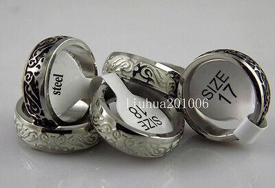 Wholesale 100 pcs Black and white mixed Antique Stainless steel Mens Band Ring