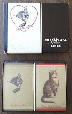 Vintage C&O Railway Chessie and Peake Playing Cards Double Deck Sealed 1930s