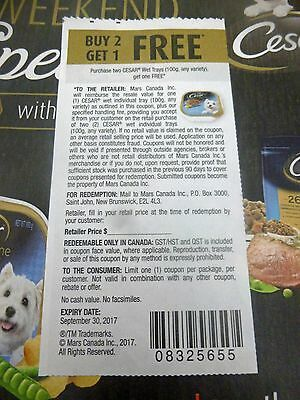 Lot Of B2G1 On Cesar Wet Trays Dog Food Product Coupons
