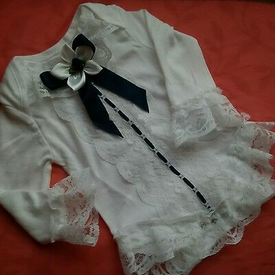 Look Pretty Frilly Navy &  White Vest Newborn Baby/reborn