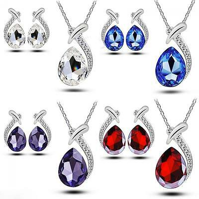 3pcs Chain Crystal Stud Earring Silver Plated Pendant Necklace Set