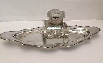 Antique EPNS Silver Plated Glass Inkwell & Pierced Desktop Stand