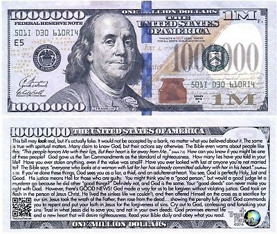 Blue Franklin Million Dollar Funny Money Gospel Tract Novelty Note + FREE SLEEVE